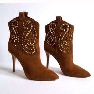 MICHAEL KORS - SUEDE REENA STUDDED ANKLE BOOTIE